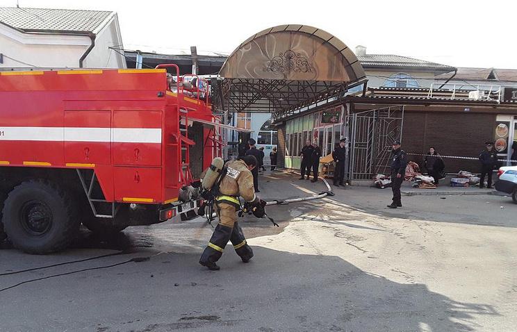 Площадь пожара на рынке в Нальчике превысила 2 тыс. кв. м