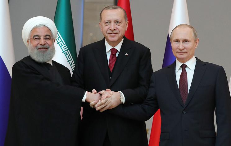 Пресс-конференция Путина, Эрдогана и Роухани по итогам саммита в Тегеране. Видеотрансляция