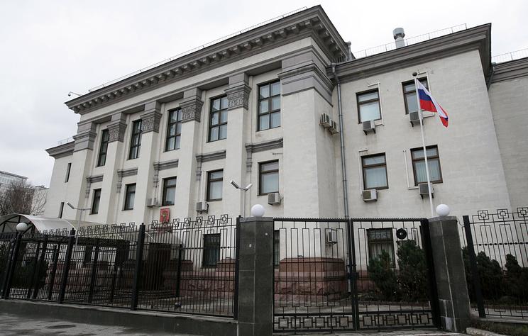 У здания посольства России в Киеве произошел взрыв