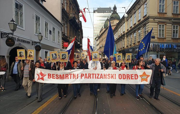 """Около 400 человек приняли участие в шествии """"Бессмертного полка"""" в Загребе"""