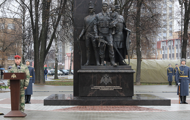 В Рязани открыли памятник погибшим сотрудникам Росгвардии