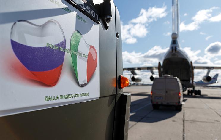 В Италию прибыл первый самолет с медпомощью из России